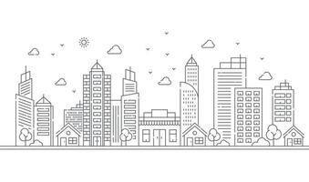Illustration of large buildings and trees in thin lines style vector