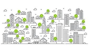 Illustration of buildings in various forms with trees. Beautiful urban view. vector