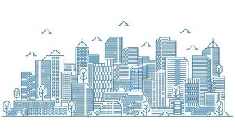 Illustration of buildings in line style with various shapes of buildings. Beautiful urban views with trees vector