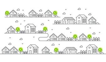 Illustration of houses in various forms with trees. Beautiful residential view. vector