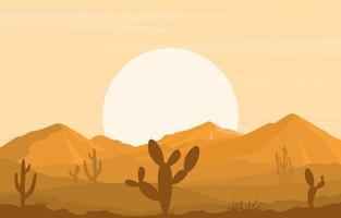 Day in Vast Desert Rock Hill Mountain with Cactus Horizon Landscape Illustration vector