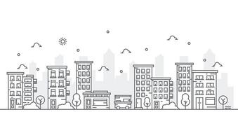 Illustration of buildings in line style with various shapes of buildings. Beautiful urban view with trees. vector