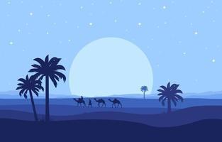 jinete de camello cruzando la vasta colina del desierto paisaje árabe ilustración vector