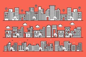 Fondo urbano con grandes edificios en estilo de línea. vector