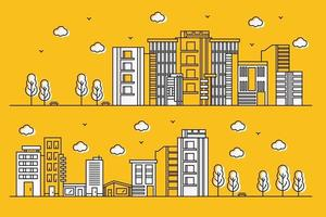 Urban illustration with various shapes of buildings in line style of paper with trees vector