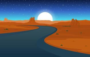 Day in Vast Western American Desert with Cactus Horizon Landscape Illustration vector