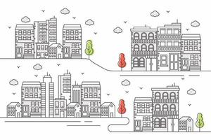 Urban background with large buildings in line style vector