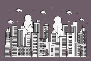 Beautiful urban illustration with various buildings in line style vector
