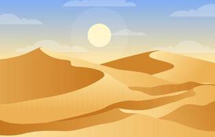 Beautiful Vast Desert Hill Mountain Arabian Horizon Landscape Illustration vector