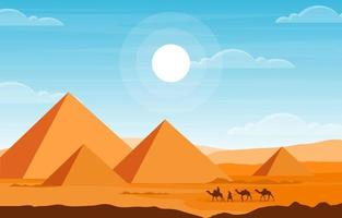 caravana de camellos cruzando egipto pirámide desierto paisaje árabe ilustración vector