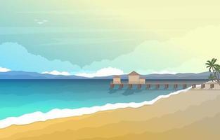 vacaciones de verano en el paisaje de playa tropical vector