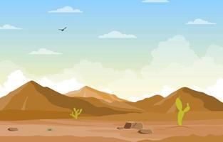 día en el vasto desierto rock hill mountain con cactus horizonte paisaje ilustración vector