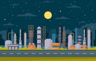 Industrial Factory Buildings Flat Illustration vector