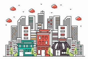 Modern urban illustration in line style vector