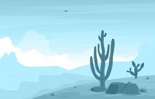día en el vasto desierto americano occidental con cactus horizonte paisaje ilustración vector