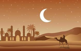 Desert Night Scene with Mosque and Palm Trees Illustration vector