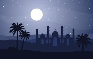 Full moon over mosque, desert landscape illustration vector