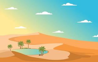 Arabian Landscape with Oasis and Palm Trees and Desert Hill Illustration vector