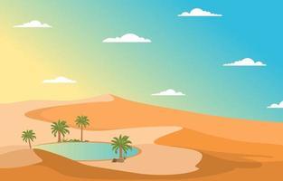 paisaje árabe con oasis y palmeras y la ilustración de la colina del desierto vector