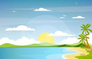 Vacation in Tropical Beach Landscape with Palm Trees vector