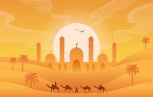 Golden Desert with Islamic Mosque Illustration vector