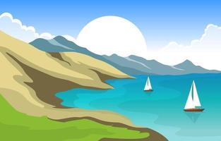 hermoso panorama playa paisaje ilustración vector