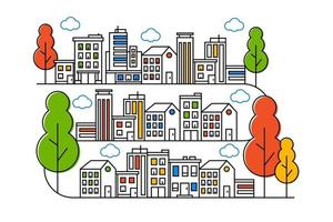 City and tree illustrations in thin line styles vector