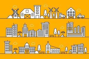 diseño de ilustración de línea de ciudad. paisaje de la ciudad de línea fina. Ilustración de vector de vida urbana.