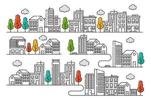 City illustration with thin line style