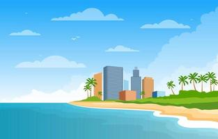 Summer Vacation in Tropical Beach Landscape vector