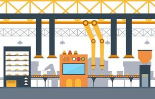 Industrial Factory with Conveyor Belt and Robotic Assembly Illustration vector