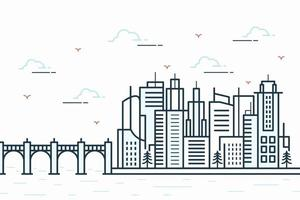 City line view illustration with a variety of building shapes vector