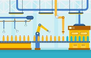 Industrial Factory Conveyor Belt and Robotic Assembly Illustration vector