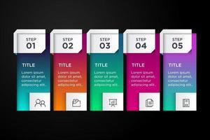 5 steps modern business infographic template illustration