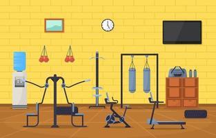 Interior de gimnasio con ilustración de vector de equipo de culturismo