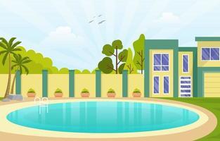 Modern House Villa Exterior with Swimming Pool at Backyard Illustration vector