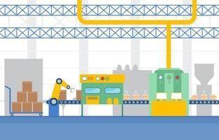 Cinta transportadora de fábrica industrial e ilustración de ensamblaje robótico vector