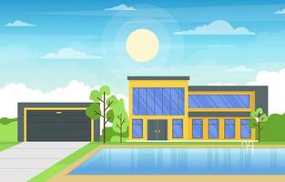 Modern House Villa Exterior with Swimming Pool at Backyard Illustration vector