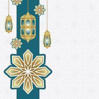 Arabic Islamic Lantern for Ramadan Kareem Eid Mubarak Background vector
