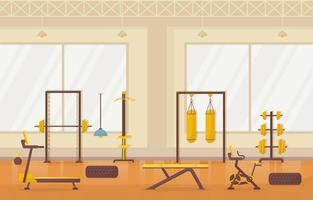 Fitness Gym Interior with Bodybuilding Equipment Vector Illustration