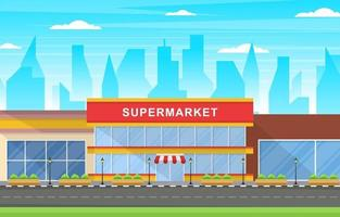 Supermarket Grocery Store in City Flat Illustration vector
