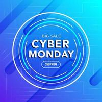 Cyber Monday sale template banner vector