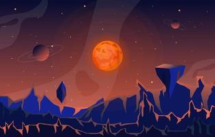 Landscape Surface of Science Fiction Fantasy Planet Illustration vector