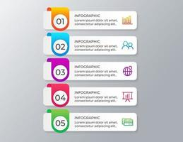 Infographic template with 5 steps or options