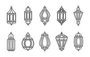 Line Islamic Arabic Lantern Collection Isolated vector