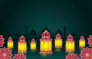 linterna árabe islámica para el fondo de ramadan kareem eid mubarak vector