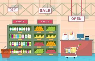 supermercado tienda de comestibles interior ilustración plana vector