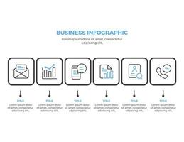 6 steps business infographic elements