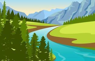 paisaje natural con río sinuoso, montañas y bosque. vector