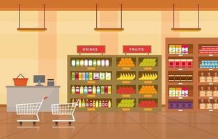 Supermarket Grocery Store Interior Flat Illustration vector